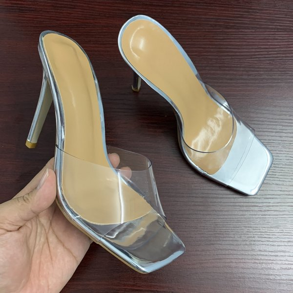 Sexy PVC Transparent slippers sandals summer fashion ladies mule heels women high heels sandals party shoes woman size 35-42