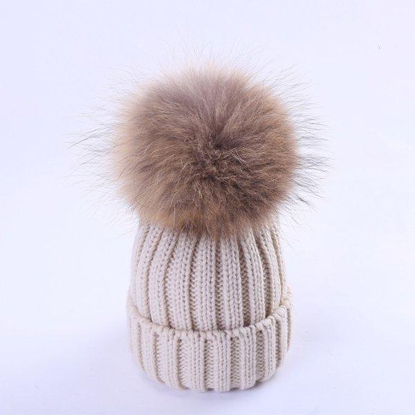 Beige (cheveux de chien de 15-18cm de raton laveur)