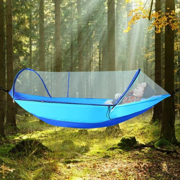 best selling Hammock with Mosquito Net for 2 People Camping Automatic Pole Speed Open Light Nylon Camping Outdoor Hammock with Tree Belt