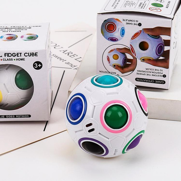 top popular DHL 3D Spherical Rainbow 360 Cube Ball Football Cubes Puzzles Educational Kids Toys For Children Adults Learning Game Gift Kids Toys FY2505 2021