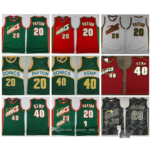 Mitchell Ness 1995-96 20 Gary Payton Seattle\rSuperSonics\rThrowback Jersey Shawn Kemp Retro Hardwood\rClassics Basketball Jerseys