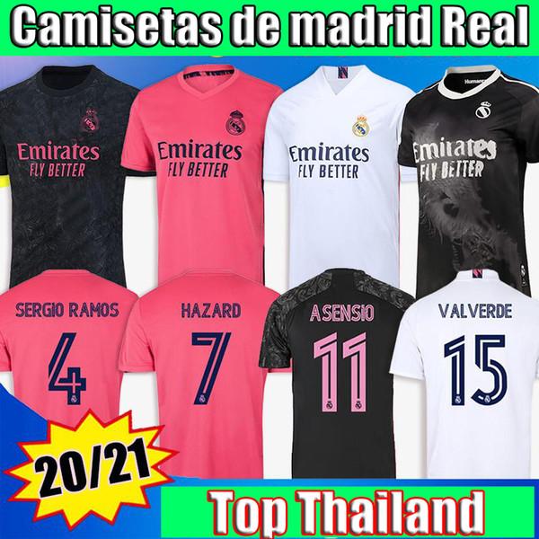 top popular SERGIO RAMOS HAZARD BENZEMA Real Madrid 20 21 soccer jersey 2020 2021 ASENSIO MODRIC MARCELO football top shirt men kids kits 2021
