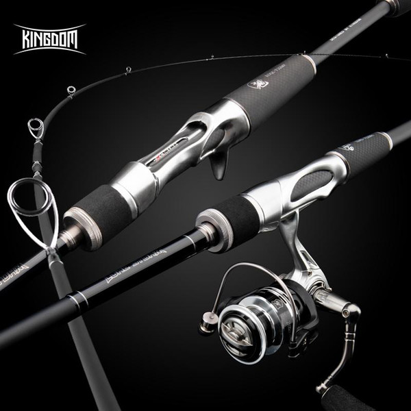 top popular Rod Reel Combo Kingdom Fishing Carbon Rods High Quality M ML L MH 1.85m-2.20m Spinning Casting Super Soft And 2021