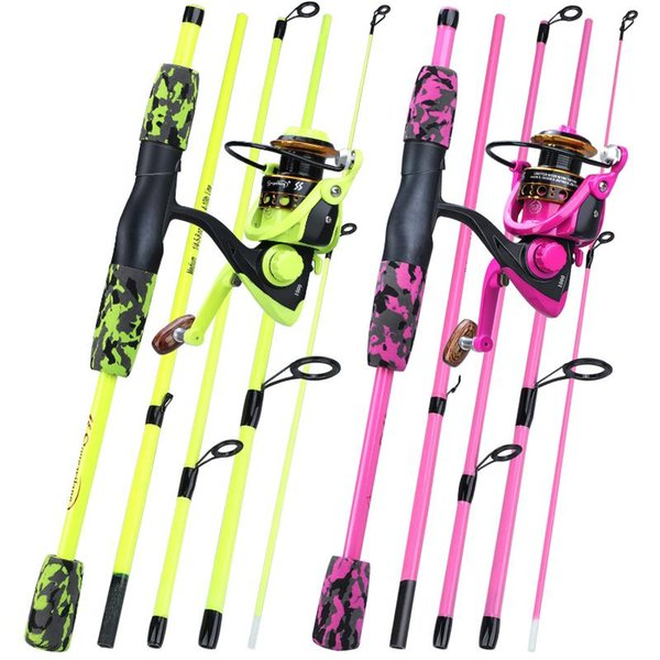 best selling Rod Reel Combo Sougayilang 1.70m Fishing Portable 5 Section Carbon Fiber Pole And 1000-3000 Spinning Tackle Set