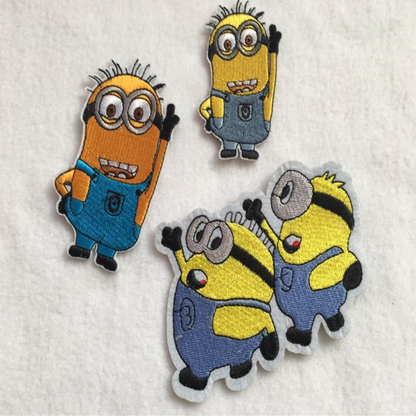 best selling 1 piece of embroidered patch iron-on minions pattern appliques diy handwork quilting for patchwork small size decorative accessories cartoon