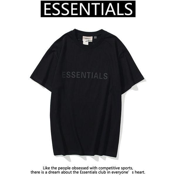 top popular 21ss Ins Hot Spring Summer Hip Hop Fear of God Front Essentials 3d Silicon Tee Skateboard Tshirt Fog Men Women Short Sleeve Casual t Shirt 2021