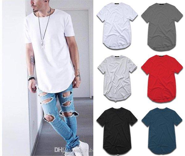 top popular Fashion men's extended Cotton t-shirt longline hip hop tee shirts wag harajuku rock tshirt homme streetwear t shirt TX145 RF 2021