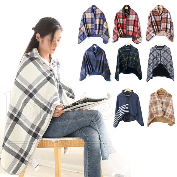 top popular Wearable Blanket Soft Warm Cozy Fleece Shawls Flannel Throw Blankets Button Closure Grid Stripe Lattice Shawl Snuggle Throwing for Sofa YL0351 2021