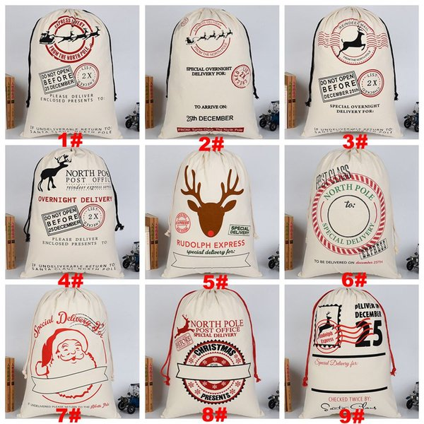 best selling Christmas Gift Bag Pure Cotton Canvas Drawstring Sack Bags 12 Styles With Xmas Santa Design