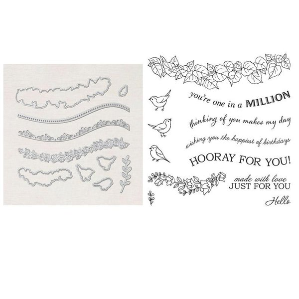 top popular Painting Supplies Quite Curvy Stamp Set And Coordinating Dies Branches, Birds, Words Metal Cutting For DIY Scrapbooking Card 2021 2021
