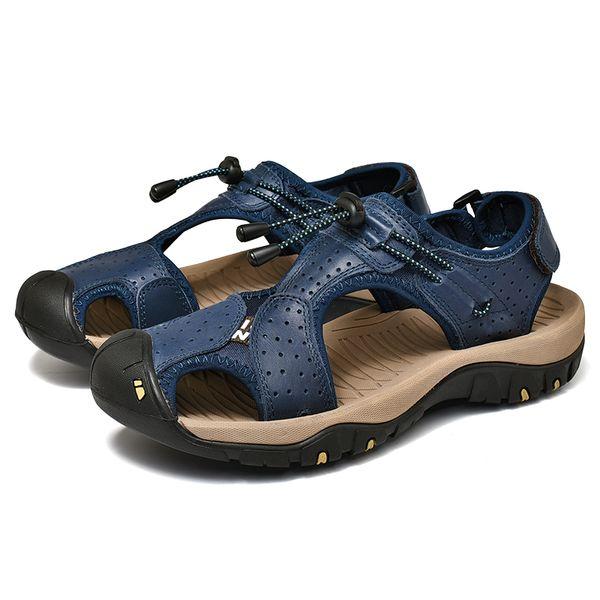 New Casual Men Soft Sandals Comfortable Men Summer Genuine Leather Sandals Men Roman Summer Outdoor Beach Sandals Big Size 38-46