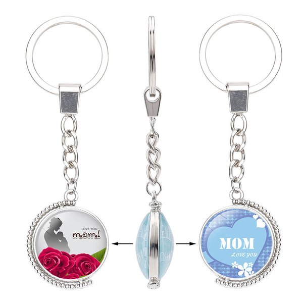 Double Side Letters Keychain Love You Mom Pendant Best Mum Cabochon Glass Ball Mothers Day Gift Happy Birthday To Mama Keyring