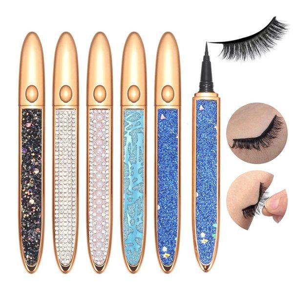 top popular Waterproof Strong Self Adhesive Eyeliner Glue for False Eyelashes 2 In 1 Magic Diamond Bling Glitter Liquid Eye Liner Pen No Need Glue to Wear Lash Droppshing 2021