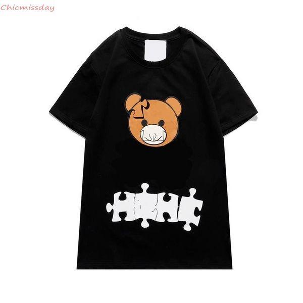 Mens T-Shirts 2021 Spring Summer Women Bear Print T-Shirts Fashion Casual Puzzle Bear T-shirt Hot Selling Short Sleeve FS9210