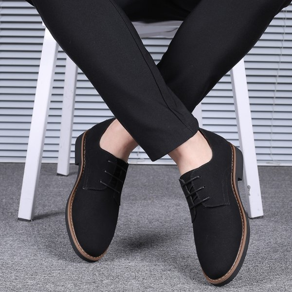 Newest High Quality Suede Leather Soft Shoes Men Loafers Oxfords Casual Male Formal Shoes Spring Lace-Up Style Mens Shoes
