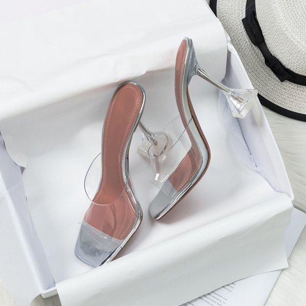 Women Slippers High Heels Transparent PVC Ladies Sandals Summer Fashion Hot Pumps Female Plus Size Shoes Non Slip Comfort New
