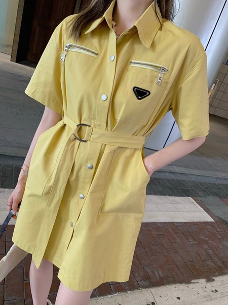 top popular 2021 women dress Street Style brand long shirts Limited edition belt decoration Detail processing perfect top quality material lapel spring blouses for female 2021