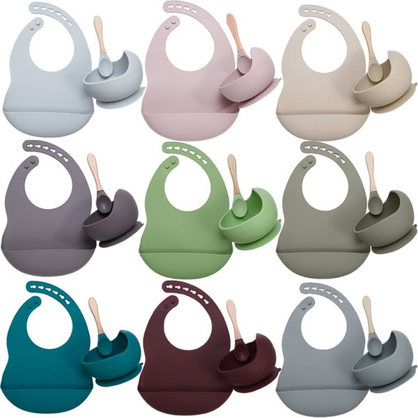 best selling Baby utensils Set Food Grade Silicone Bibs Plate Non-silp Suction Bowl Kids Tableware Waterproof Bib BPA Free Spoon 3pcs set Safe material clean and easy to wash