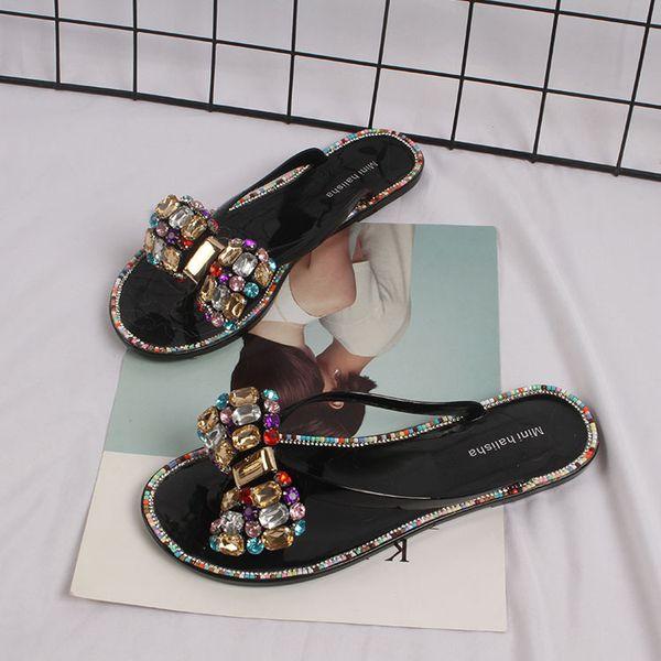 Summer Woman Beach Flip Flops Jelly Shoes 2021 New Bling Flowers PVC Slides Girls Sandals Slip on Flat with Women Slippers t452