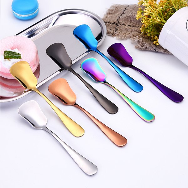 best selling Ice Cream Spoons Stainless Steel Plated Dessert Scoop Tea Coffee Stirring Spoon Cake Sugar Spoon Creative Kitchen Flatware LSK56 140 Z2