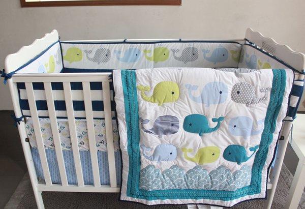 7PCS Embroidery Cotton Crib Bedding Baby Bed Linen Newborn Baby Bedding Set kit de bero (4bumper+duvet+bed cover+bed skirt)