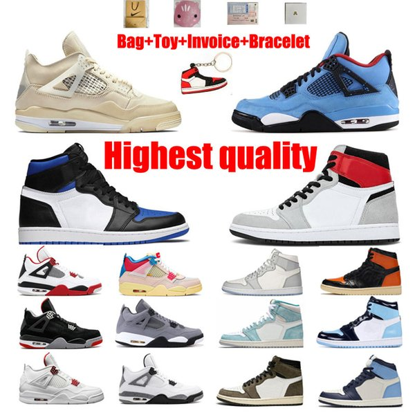 best selling Jumpman 1 1s High Travis Scotts Fearless Obsidian UNC Basketball Shoes Bred 4 Cactus Jack Cool Grey Mens Women Chicago Men Sport BOX 36-46 With half