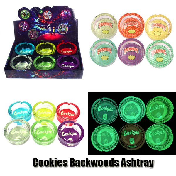 top popular Cookies Runtz Backwoods Ashtray Luminous Round Shape Clear Glass Jar Ash Tray Cigarette Ashtray Square Bin For Tobacco Cigar Smoking Home Dry Herb 2021