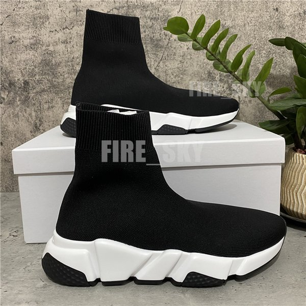 top popular 2021 Top Quality Paris Mens Womens Casual Shoes Speed Trainers Knit Sock White Black Khaki Watermark With Box Size 36-46 2021