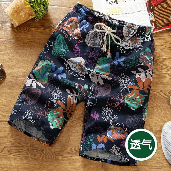best selling 2021 Men's Summer Quick Drying Cotton and Hemp Pant Shorts Sports Wear Casual Large Solid Color Printed Beach Pants
