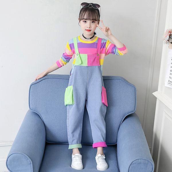 best selling set Cute Girls Clothes Colorful Tops Long Sleeve Rainbow Sweatshirt Jeans Pocket Denim Jumpsuit 4 5 6 7 9 11 12 Years Girl 2pcs Sets