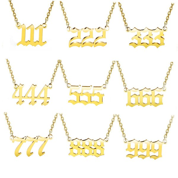 top popular Angel Number Necklace 111 222 333 444 555 666 777 888 999 Silver Old English Gold Numbers Necklaces Stainless Steel Numerology Jewelry 2021