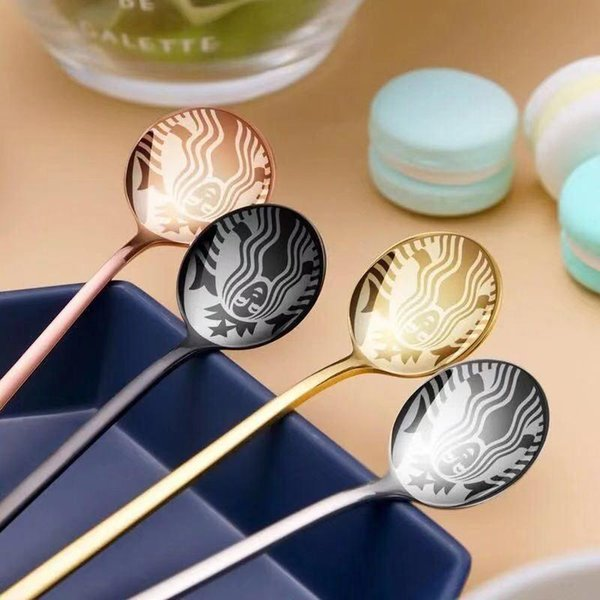 top popular 2021 Gold Popular Starbucks Stainless Steel Coffee Milk Spoon Small Round Dessert Mixing Fruit Spoon Factory Supply 2021