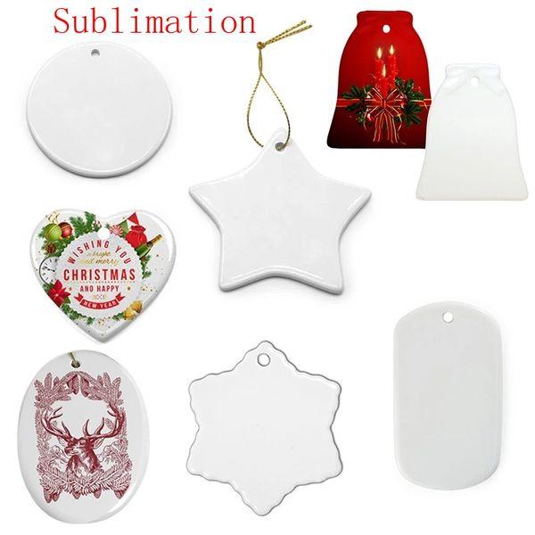 top popular US Stock Sublimation Blank Ceramic Pendant Creative Christmas Ornaments Heat Transfer Printing DIY Ceramic Ornament 9 Styles Accept Mixed 2021
