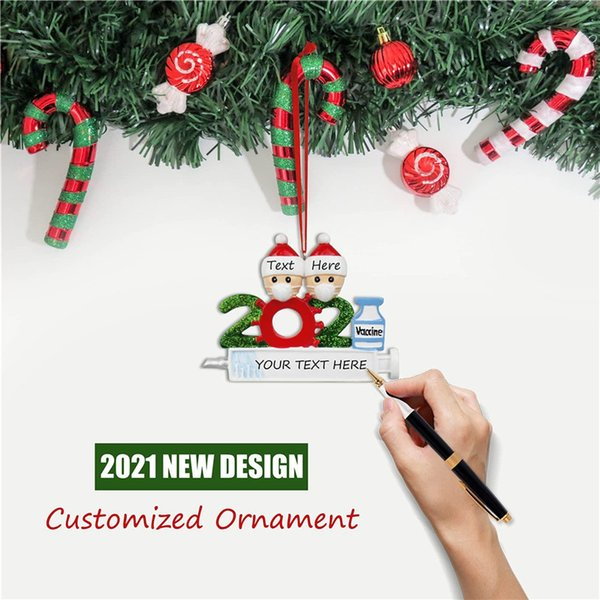 best selling IN STOCK 2021 Christmas Decoration Quarantine Ornaments Family of 1-9 Heads DIY Tree Pendant Accessories with Rope Resin