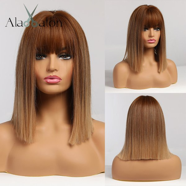 Synthetic None-Lace ALAN EATON Ombre Brown Golden Short Straight Hair Lolita Bobo Wigs with Bangs Synthetic Wigs For Women Cosplay