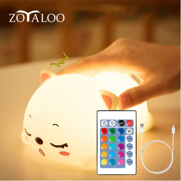Animal silicone dog light of night led colored light Breath lamp of baby animation for the gift of refillable usb children