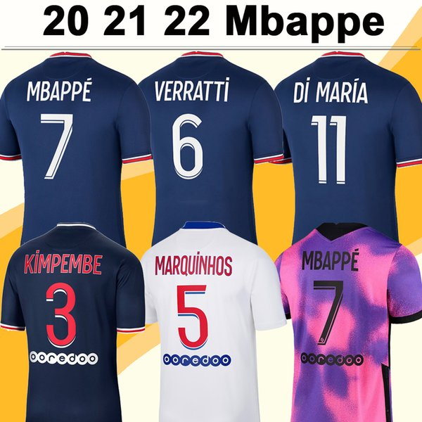 20 21 22 MBAPPE ICARDI Mens Soccer Jerseys DI MARIA VERRATTI Home Away 3rd Football Shirt KIMPEMBE DRAXLER Uniforms Maillots de Foot