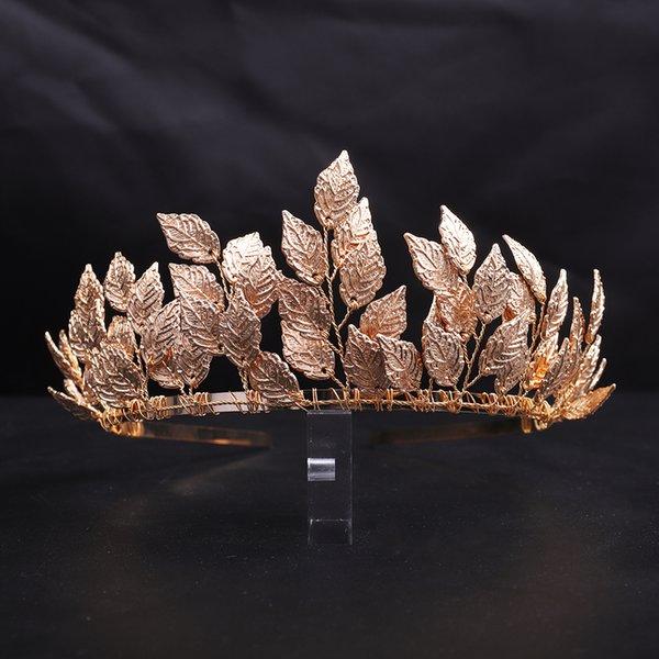Vintage Gold Leaf Bridal Crown Prom Banquet Alloy Women Headband Wedding Hair Ornaments for Bride Decoration Bridal Headwear