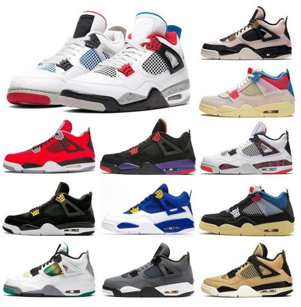top popular 2021 With Shoe Box designers sail Neon 4 4s metallic purple basketball Union noir guava ice Jumpman Mens Shoes Sneakers Black cat bred Fire Red Trainers 2021