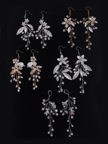 Bridal Earring Handmade Rhinestones Crystal Pearl Leaf Accessories Wedding Dangle Earring Bridal Fashion Women Girl drop Jewelry