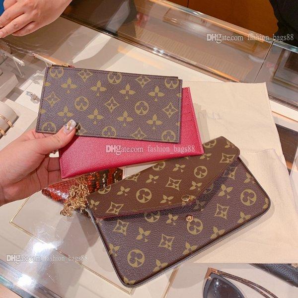 top popular Classic POCHETTE FÉLICIE Chain Package Women Bag M61276 Embossing Handbags Womens Crossbody VINTAGE Handbag Tote Luxurys Designers Old Flower Messenger Bags 2021