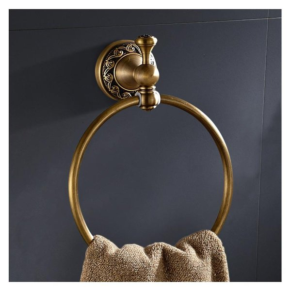 top popular Antique Style Bathroom Accessories Towel Ring, Wall-Mounted Round Brass Holder Rack, Shelf Lavatory Rings 2021