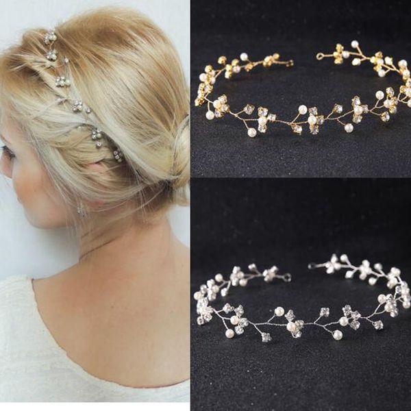 Wedding Gold Silver Rhinestones Headband Tiara Wedding Hair Vine Bridal Headband Hair Jewelry Wedding Hair accessories for Women