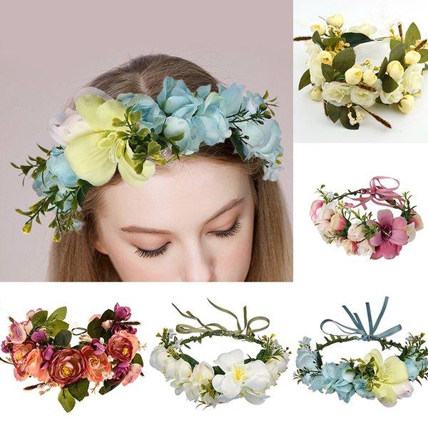 Bridesmaid Hair Flower Headbands Wreath Wedding Hair Accessories Bridal Flower Crown Headpieces Bridal Flower Girls Garland