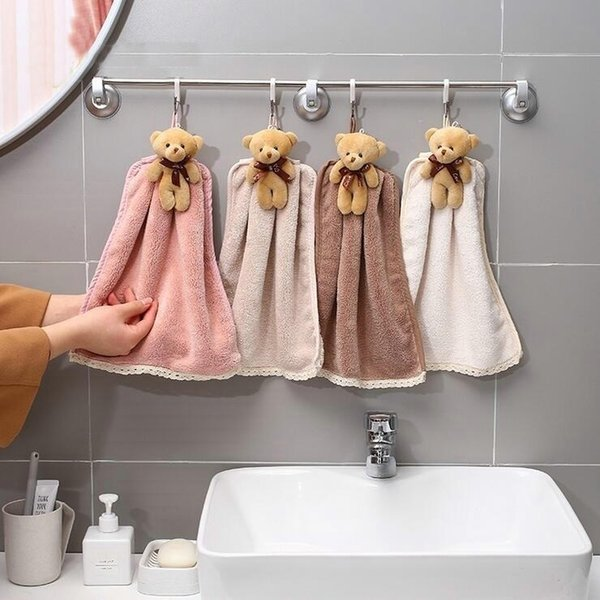 Quick-Dry Hand Towel Cute Bear Coral Fleece Holdable Kitchen Toilet Towel Absorbent Wipe Plush Hand Towel Bathroom Hanging