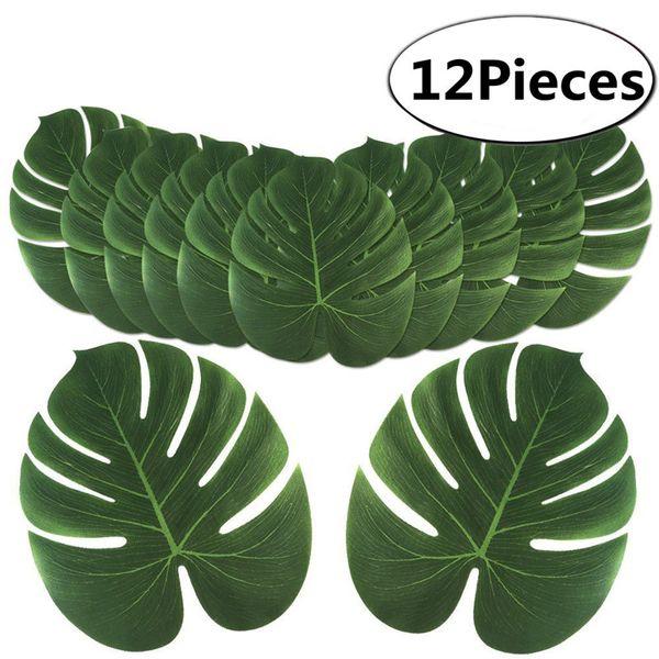 12 Pcs Big Artificial Tropical Palm Leaves Silk Leaf For Hawaiian Luau Theme Party Decor Wedding Birthday Home Table Decoration