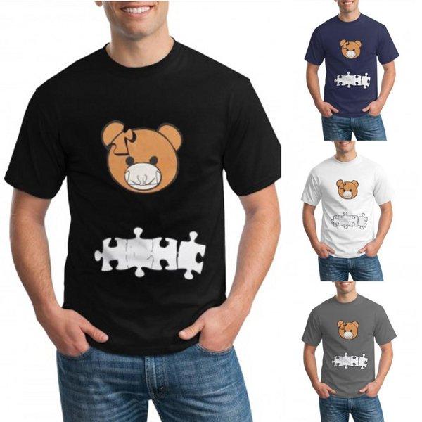 2021 Spring Summer Outdoor Women Mens T-Shirts Bear Print Fashion Casual Puzzle Bear T-shirt Short Sleeve FS9210