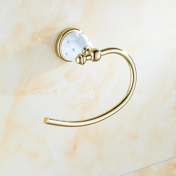 top popular Gold Towel Rings Solid Brass Holder Wall Mounted Bar Bath Shelf Rack Hangers Bathroom Accessories 2021