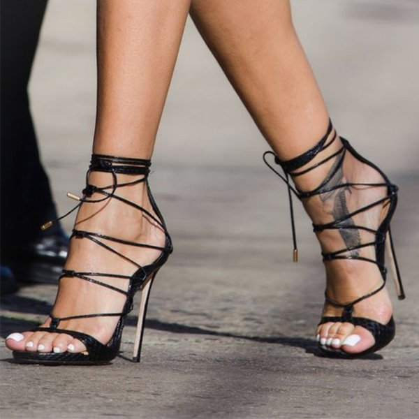 Womens Sandals 2021 Summer Sexy Cross Tied Strap Bandage Female Party Shoes Lace up Ladies High Heels Fashion Woman Pumps New