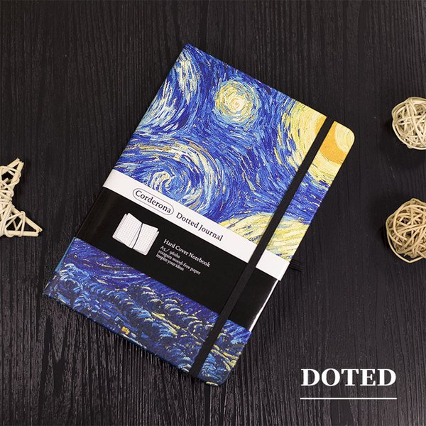 top popular A5 Dotted Bullet Notebook Hard Cover Notepad Travel Planner Diary Van Gogh Starry Night Blossoming Almond Tree Dot Grid Journal 2021